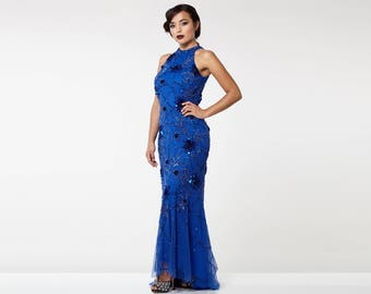 Royal Blue Agnes High Low Gown Long Prom Maxi Formal Dress 20s inspired Flapper Great Gatsby Downton Abbey art Deco Bridesmaid Homecoming