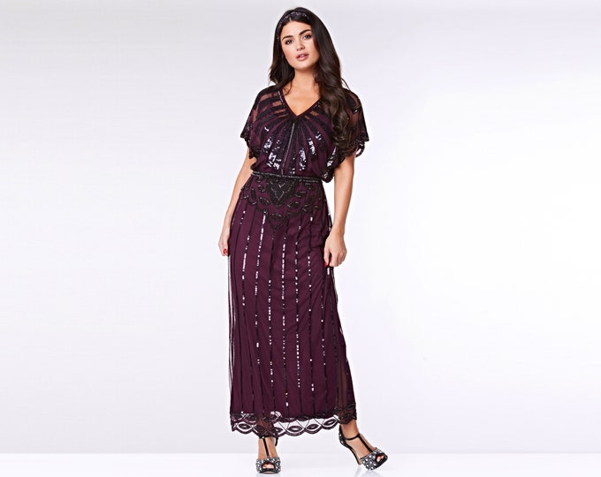 6fb4808dc70 US10 UK14 AUS14 EU42 Plum Angel Sleeve Prom Maxi Dress 20s Flapper Great  Gatsby Mother of