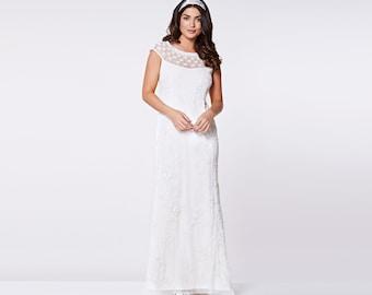 US8 UK12 AUS12 EU40 Wedding Reception Gown Off White Prom Maxi Elizabeth Dress 20s Flapper Great Gatsby Downton Abbey Beach Art deco Boho