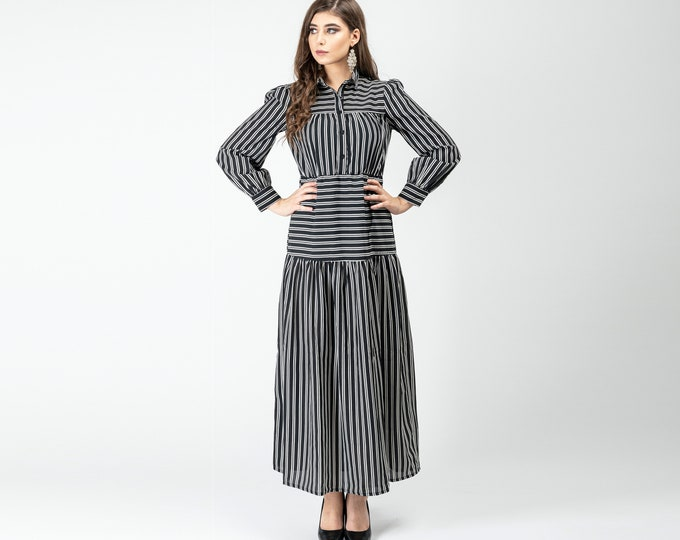 Gatsbylady Zohre Elegant Designer handmade Shirt Dress in Black White Stripes Maxi Dress Great Gatsby Art Deco Downton Abbey Charleston