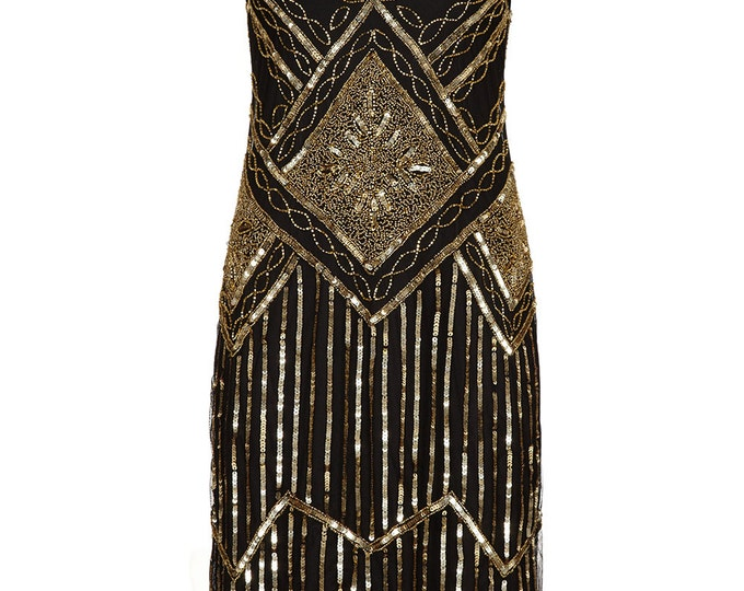 PETITE Length UK20 US16 AUS20 Black Gold Vintage inspired 1920s Flapper Great Gatsby Charleston Sequin Downton Abbey Wedding Dress Hand Made