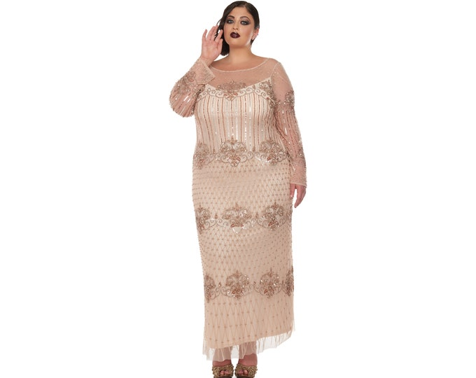 US26 UK30 AUS30 EU58 Plus Size Champagne Prom Maxi Dolores Dress with Sleeves 20s Flapper Great Gatsby Beaded Wedding Bridesmaids Homecoming