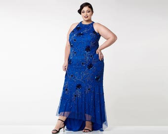 Plus Size Royal Blue Agnes High Low Gown Long Prom Maxi Formal Dress 20s inspired Great Gatsby Downton Abbey art Deco Bridesmaid Homecoming