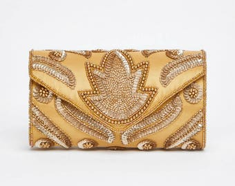 Vintage Inspired Gold Vegas Wedding clutch purse bag Hand Embellished 20s Great Gatsby Flapper Charleston Downton Abbey Art Deco New