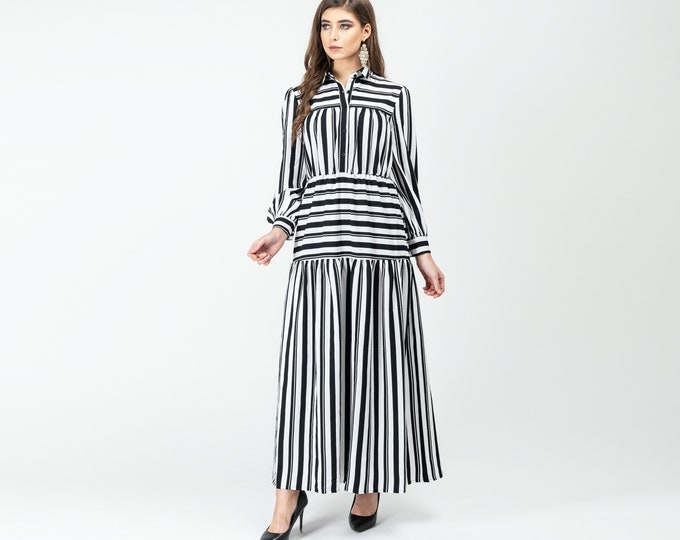 Gatsbylady Zohre Elegant Designer handmade Shirt Dress in White and Black Stripes Maxi Dress Great Gatsby Art Deco Downton Abbey Charleston