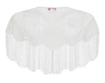 Suzi Embellished Cape in White 20s inspired Flapper Wedding Prom Jacket Bolero Great Gatsby Art Deco Downton Abbey beaded Shrug cape