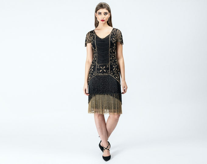 Edith Black Gold Fringe Flapper Dress Slip Included 20s Great Gatsby Art Deco Charleston Downton Abbey Bridesmaid Wedding