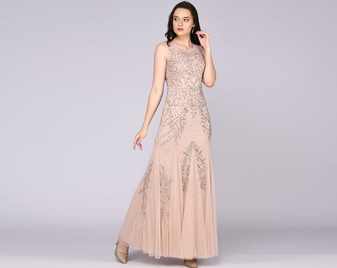 Anna Illusion Neckline Long Blush Wedding Gown Prom Maxi Great Gatsby Art Deco Downton Abbey Charleston Bridesmaid Bridal shower reception