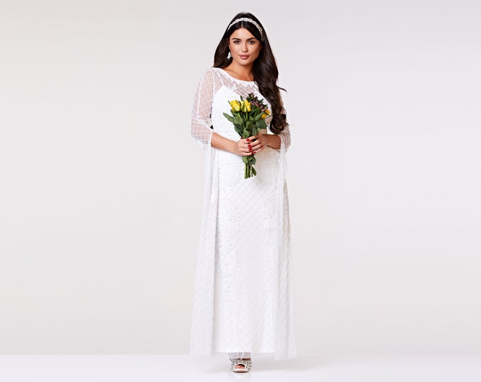 ac2a48cba21 Eugine White Wedding Gown Prom Maxi Dress with Long Sleeves 20s Flapper  Great Gatsby Formal Speakeasy