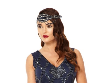 Navy Blue Great Gatsby Flapper Headband Vintage inspired 1920s Beaded Charleston Downton Abbey Sequin Mod Art Deco Hair band New Hand Made