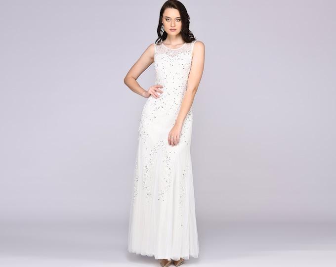 Anna Illusion Neckline Long White Wedding Gown Prom Maxi Great Gatsby Art Deco Downton Abbey Charleston Bridesmaid Bridal shower reception
