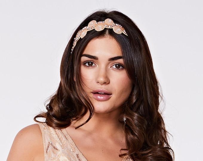 Blush Silver Eliza Great Gatsby Flapper Wedding Headband Vintage inspired 20s Beaded Charleston Downton Abbey Wedding Art Deco New HandMade