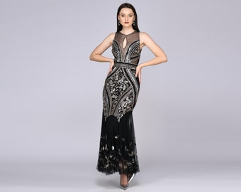 Sharon Illusion Neckline Backless Black Silver Gown Prom Maxi Dress Great Gatsby Art Deco Downton Abbey Charleston Bridesmaid Bridal shower