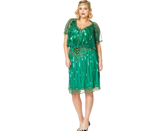 US20 UK24 AUS24 EU52 Plus Size Angel Sleeve Emerald Green 20s Flapper Great Gatsby Charleston Wedding Guest Bridesmaid Jazz age party Dress
