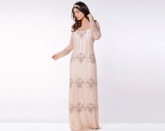 US14 UK18 AUS18 EU46 Champagne Prom Maxi Dress with Sleeves Dolores 20s Flapper Great Gatsby Downton Abbey Wedding Bridesmaids Homecoming