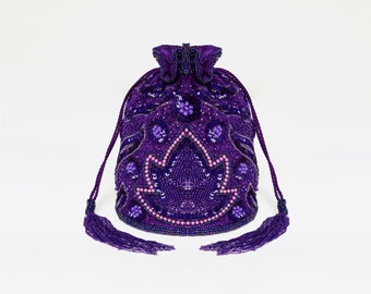 Vintage Inspired Hollywood  Bucket Pouch clutch purse bag Purple Wedding Bridal Bridesmaids 20s Great Gatsby Flapper Art Deco