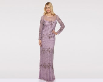 f228a3521a Plus Size US16 UK20 AUS20 EU48 Lavender Lilac Prom Maxi Dress with Sleeves  Dolores 1920s Mother of the Bride Wedding Bridesmaids Homecoming