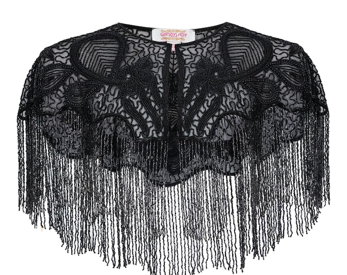 Suzi Embellished Cape in Black 20s inspired Flapper Wedding Prom Jacket Bolero Great Gatsby Art Deco Downton Abbey beaded Shrug cape