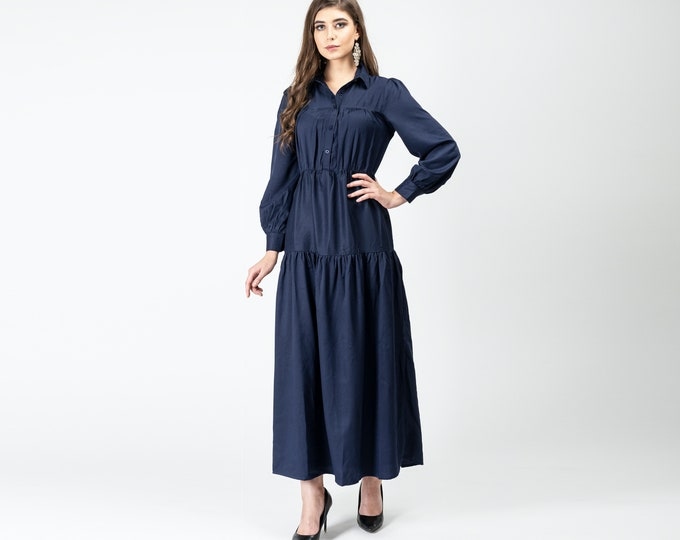 Gatsbylady Gonca Elegant Designer handmade Shirt Dress in Navy Blue Maxi Dress Great Gatsby Art Deco Downton Abbey Charleston