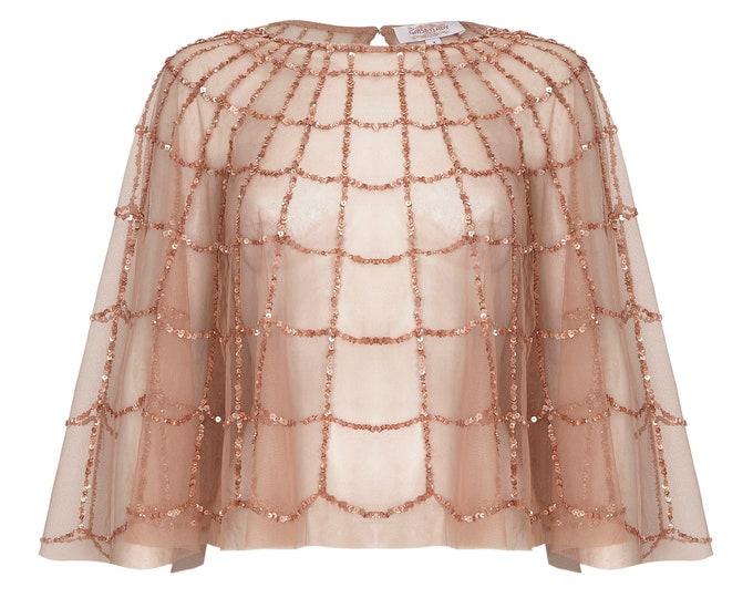 Sophie Embellished Cape Rose Gold 20s inspired Flapper Wedding Prom Jacket Bolero Great Gatsby Art Deco Downton Abbey beaded Shrug cape