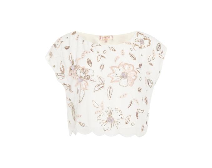 US18 UK22 AUS22 EU50 Plus Size Bohemian White Flora Bridal Bridesmaid Wedding top Blouse Vintage 20s Flapper Gatsby Art Deco Charleston