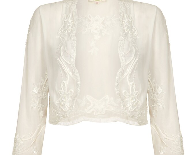 Wedding Bolero Jacket Shrug Cape Mary Off white Hand made 20s Wedding Flapper Great Gatsby Vintage inspired Art Deco Charleston