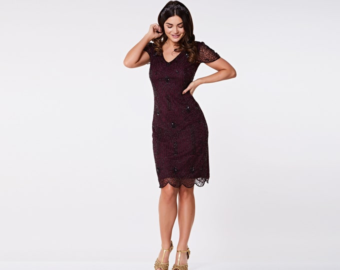 Downton Abbey plum burgundy Flapper dress with sleeves 20s Gatsby Charleston Wedding Guest Bridesmaids Dress Hand Made Jazzage retro pinup