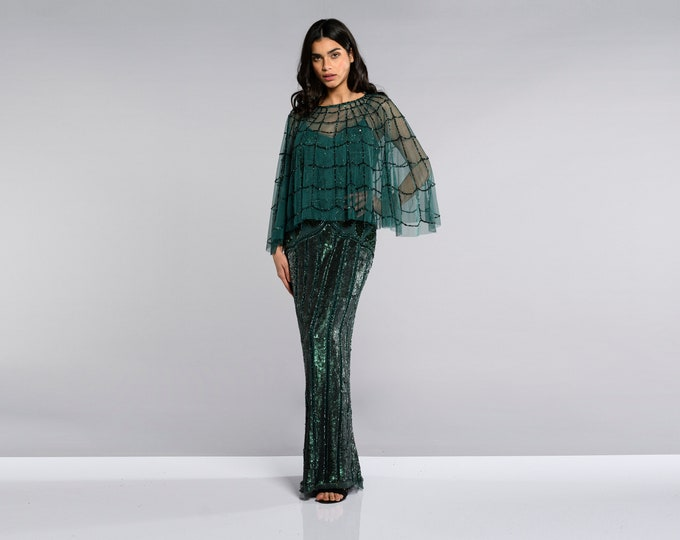 8ae97eb92 Edna Embellished Cape Green 20s inspired Flapper Wedding Prom Jacket Bolero  Great Gatsby Art Deco Downton