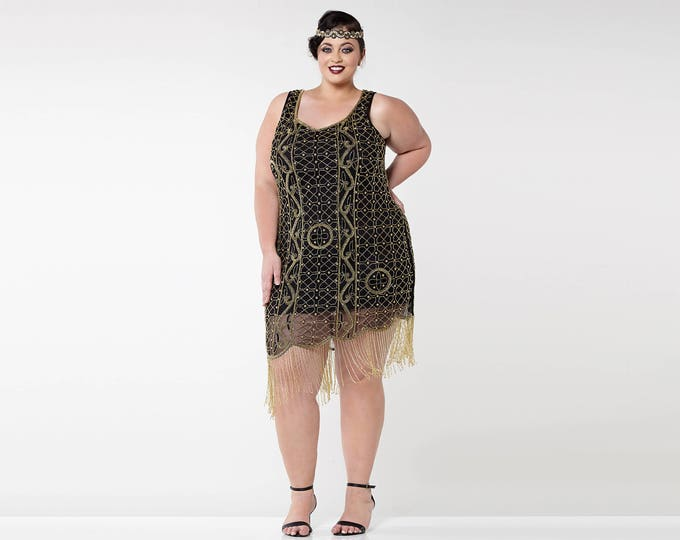 US16 UK20 AUS20 EU48 Plus Size Isabella Black Gold 1920s Flapper Great Gatsby Downton Abbey Charleston Bridesmaid Wedding Guest Bridal Dress