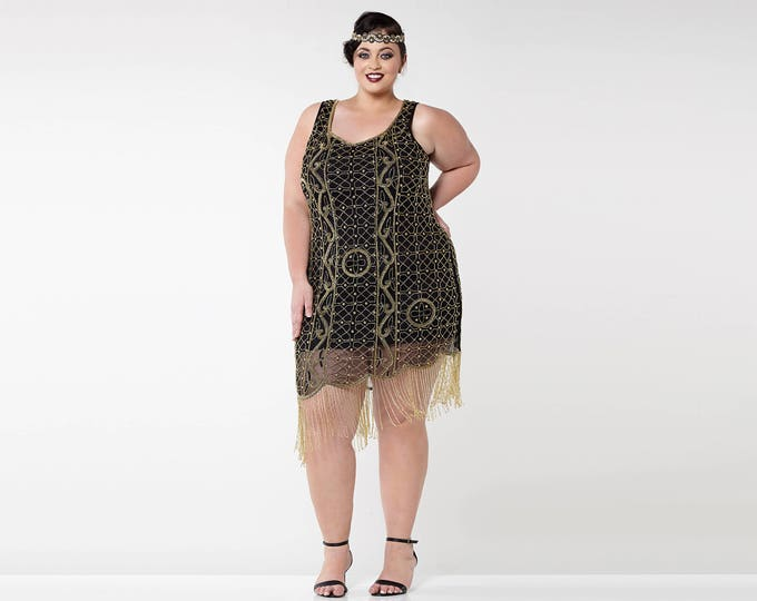 US20 UK24 AUS24 EU52 Plus Size Isabella Black Gold 1920s Flapper Great Gatsby Downton Abbey Charleston Bridesmaid Wedding Guest Bridal Dress