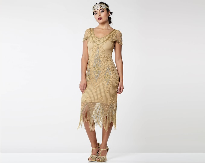 Canada Duty Free Shipping Annette Gold 20s Flapper Gatsby Downton Abbey Charleston Art Deco Bridesmaid Wedding Guest Bridal Shower Dress