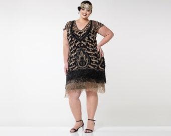 30d015e0d2f Plus Size Vegas Black Gold Flapper Dress Slip Included 20s Vintage inspired  Great Gatsby ArtDeco Charleston Downton Abbey Bridesmaid Wedding