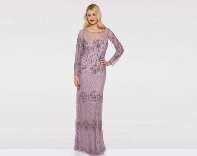 US6 UK10 AUS10 EU38 Lavender Lilac Prom Maxi Dress with Sleeves Dolores 20s Great Gatsby Mother of the Bride Wedding Bridesmaids Homecoming