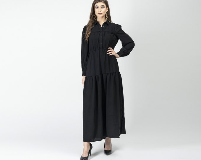 Gatsbylady Gonca Elegant Designer handmade Shirt Dress in Black Maxi Dress Great Gatsby Art Deco Downton Abbey Charleston