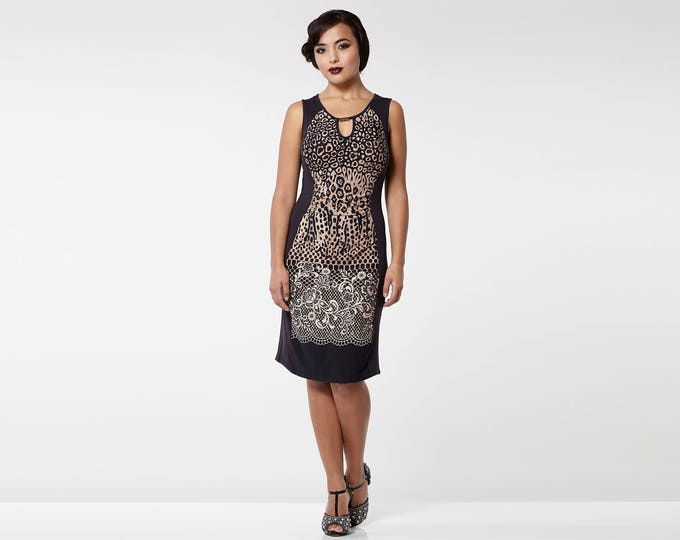 Leopard Print Black Brown Farah Bohemian Ruched Waist Bodycon Dress Plus size