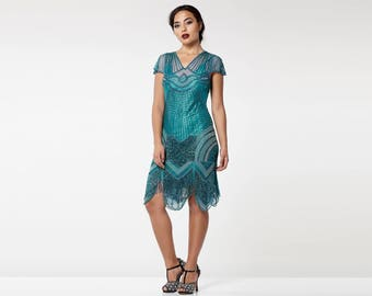 Canada Duty Free Shipping Beatrice Teal Flapper Dress with Slip 20s Great Gatsby Charleston Downton Abbey Bridesmaid Wedding Jazz age