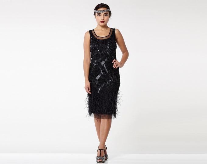 US4 UK8 AUS8 EU36 Marilyn Feather Flapper Dress 1920s Great Gatsby Charleston Art Deco Homecoming Bridesmaids Wedding Guest Jazzage Retro