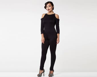 Black Bohemian Bodycon Halter Neck Cold Shoulder Emily Jumpsuit