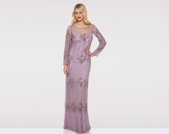 Canada Local Duty Free shipping Lavender Lilac Prom Maxi Dress Dolores 20s Great Gatsby Downton Abbey Wedding Bridesmaids Homecoming