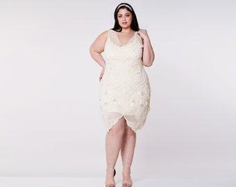 US14 UK18 AUS18 EU46 Emma Cream Flapper Dress with Slip 20s Great Gatsby Art Deco Bridesmaids Bridal Wedding Guest beach short wedding