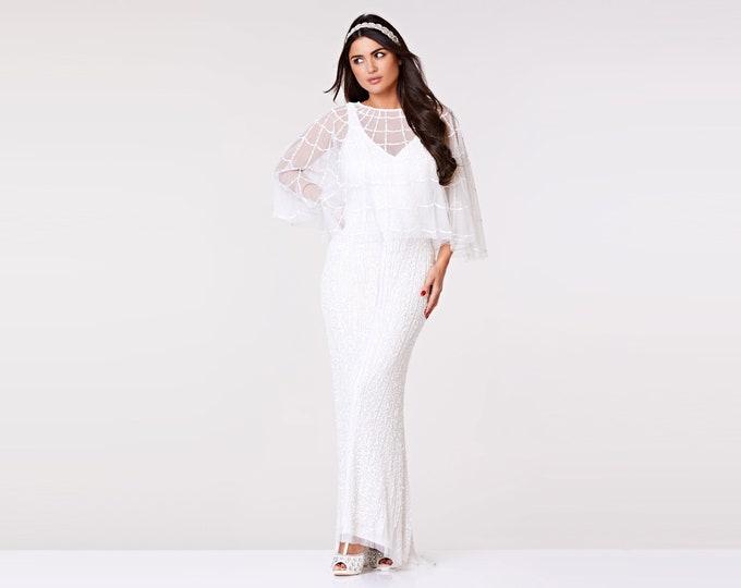 Sophie Embellished Cape White 20s inspired Flapper Wedding Prom Jacket Bolero Great Gatsby Art Deco Downton Abbey beaded Shrug cape