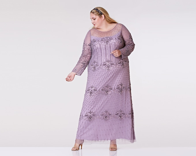 Plus Size US28 UK32 AUS32 EU60 Lavender Lilac Prom Maxi Dress with Sleeves Dolores 1920s Mother of the Bride Wedding Bridesmaids Homecoming