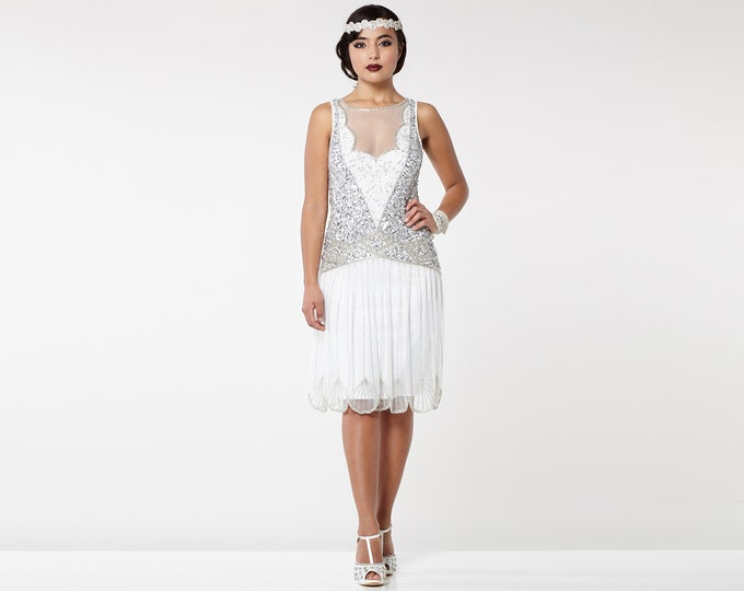 Canada Duty Free Shipping Off White Elaina Flapper Dress 20s Gatsby Art Deco Bridesmaid Wedding reception Bridal Shower Rehearsal Dinner