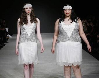 Plus Size Off White Silver Elaina Flapper Dress 1920s Great Gatsby Downton Abbey Bridesmaid Wedding reception Bridal Shower Rehearsal Dinner