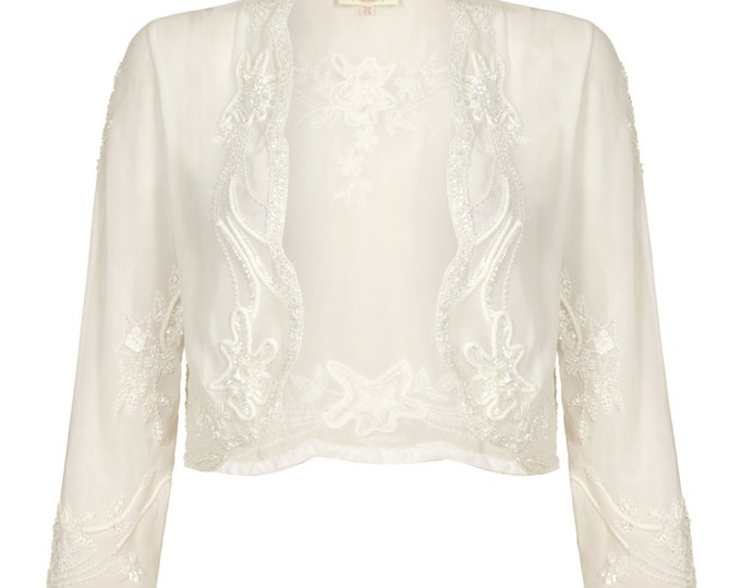 Plus Size Mary Off White Wedding Bolero Jacket Shrug Cape Hand made 20s Wedding Flapper Great Gatsby Vintage inspired Art Deco Charleston