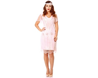 US4 UK8 AUS8 EU36 Art Deco Pink Blush Dress with Sleeves Vintage inspired 1920s Flapper Great Gatsby Downton Abbey Charleston Bridesmaid