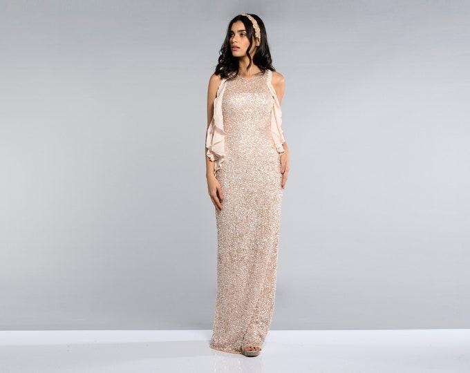 Manhatten Pink Vintage inspired 20s Prom Maxi Dress Sleeveless Great Gatsby Charleston Bridesmaids Homecoming Wedding Hand Made