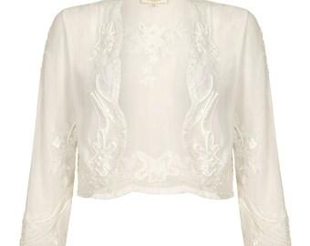 US20 UK24 AUS24 EU52 Mary Off white Plus size Bolero Jacket Shrug Cape Hand made 1920s Wedding Flapper Gatsby Vintage inspired Charleston