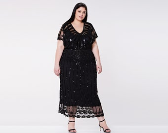 Plus size Black Angel Sleeve Prom Maxi Dress 20s Flapper Great Gatsby Charleston Mother of the Bride Speakeasy Art Deco Bridesmaids Wedding