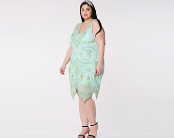 Plus size Emma Mint Flapper Dress with Slip 20s Great Gatsby Art Deco Bridesmaids Bridal Wedding Guest Retro Jazz Age Homecoming Handmade
